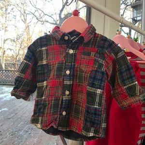 GAP Patchwork Plaid Flannel Button-down Shirt